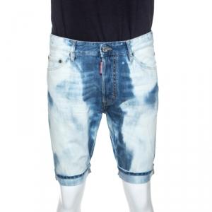 Dsquared2 Indigo Bleach Washed Denim Glam Head Shorts L