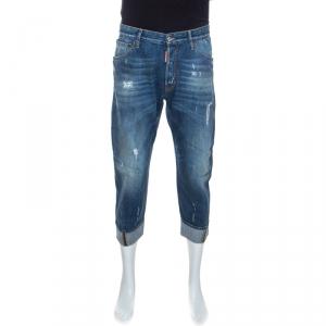 Dsquared2 Indigo Washed & Distressed Denim Cropped Work Wear Jeans M