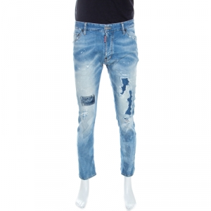 Dsquared2 Blue Distressed & Washed Out Denim Jeans XL
