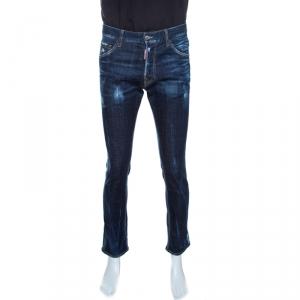 Dsquared2 Indigo Distressed Blu Cadet Wash Denim Cool Guy Jeans M