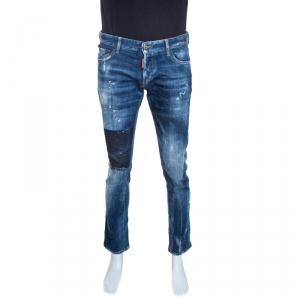 Dsquared2 Indigo Faded Effect Denim Distressed Slim Jeans M