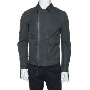 Dsquared2 Grey Cotton Zip Front Biker Jacket S