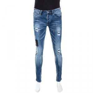Dsquared2 Indigo Medium Wash Distressed Denim Patched Jeans M