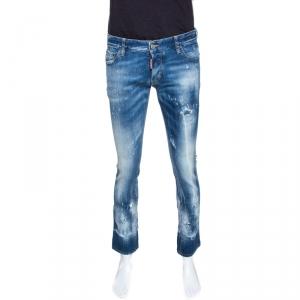 Dsquared2 Indigo Medium Wash Distressed Denim Slim Jeans L