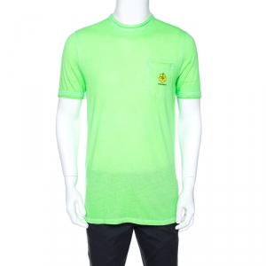 Dsquared2 Neon Green Logo Print Cotton T-Shirt M - used