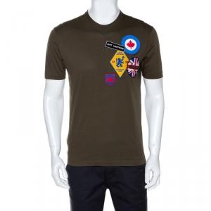 Dsquared2 Olive Green Cotton Applique Detail T-shirt M