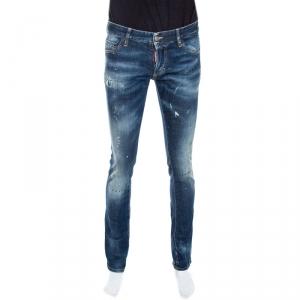 Dsquared2 Blue Distressed Denim Stitch Detail Slim Jeans S