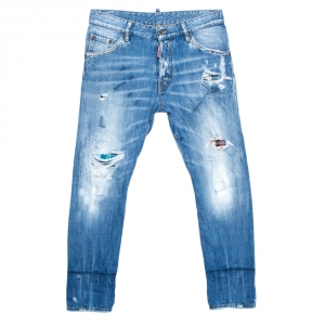 Dsquared2 Blue Distressed Denim Tartan Patched Cool Guy Jeans XS