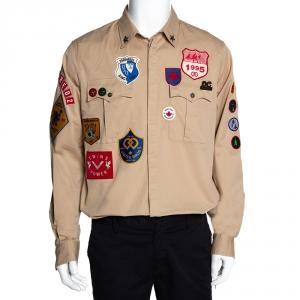 Dsquared2 Beige Stretch Cotton Twill Patches Carpenter Shirt XXL