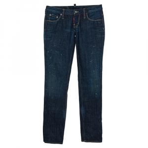 Dsquared2 Indigo Denim Paint Splatter Effect Straight Leg Jeans S - used
