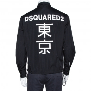 Dsquared2 Black Cotton Zipper Front Logo Print Windbreaker Shirt M