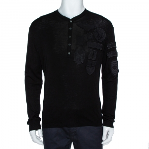 Dsquared2 Black Wool Knit Badge Detailed Henley T-Shirt M - used