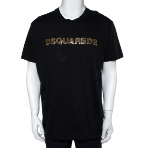 Dsquared2 Black Cotton Logo Sequinned Long Cool Fit T-Shirt XXL - used