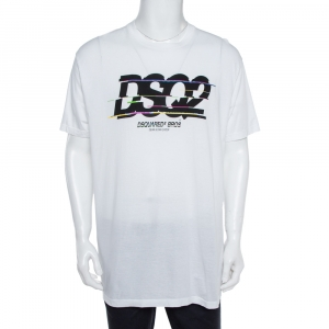 Dsquared2 White Cotton Logo Print T-Shirt XXL