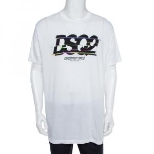 Dsquared2 White Cotton Logo Print T-Shirt XXL - used