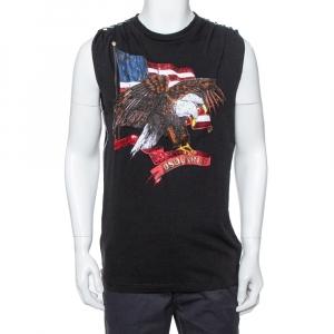 Dsquared2 Black Cotton Embellished Eagle Icon Sleeveless T Shirt L - used