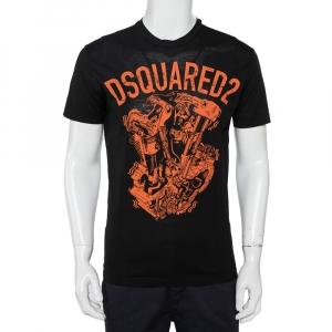 Dsquared2 Black Logo Graphic Printed Cotton Crewneck T-Shirt S - used
