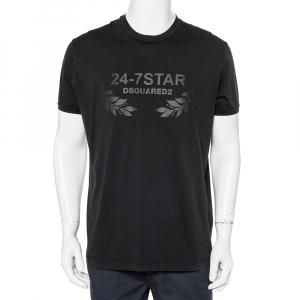 Dsquared2 Black Cotton 24-7Star Embossed Crewneck T-Shirt XXL - used