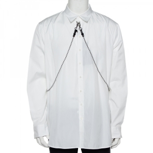 Dsquared2 White Cotton Chain Detail Button Front Shirt XL - used