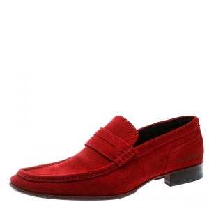 DSquared2 Red Suede Slip On Loafers Size 44