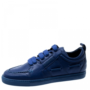 Dsquared2 Blue Leather Whipstitch Detail Sneakers Size 42