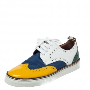 Dsquared2 Multicolor Canvas And Brogue Leather Lace Up Sneakers Size 41