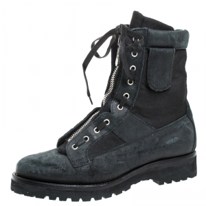 Dsquared2 Black Leather And Suede Lace Up And Zipper Ankle Boots Size 43