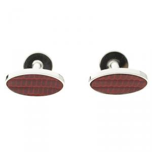 Dunhill Red Leather Silver Tone Oval Cufflinks