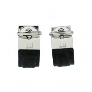 Dunhill Black Leather & Silver Wrap Around Cufflinks