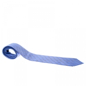 Dunhill Blue Clasp Printed Silk Traditional Tie