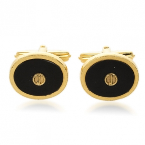 Dunhill Black Onyx Oval Gold Plated Cufflinks