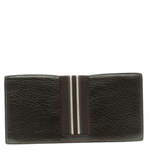 Dunhill Dark Brown Leather Stripe Long Wallet