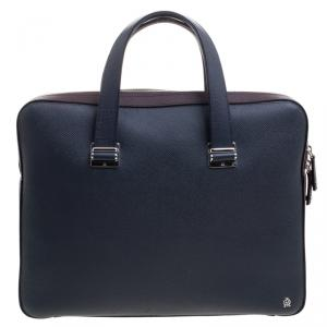 Dunhill Dark Blue/Burgundy Leather Cadogan Single Document Briefcase