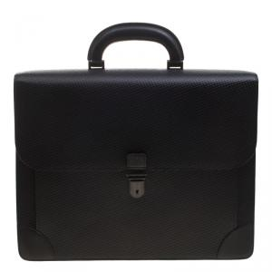 Dunhill Black Textured Leather Bourdon Briefcase