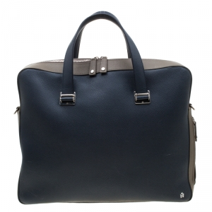 Dunhill Navy Blue/Grey Leather Cadogan Single Document Briefcase