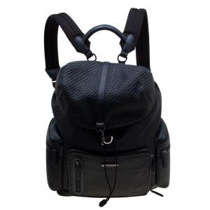 Ermenegildo Zegna Navy Blue Pelle Leather Tessuta Backpack
