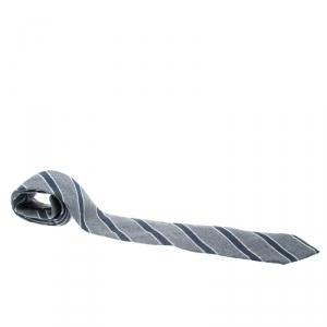 Emporio Armani Grey and Blue Diagonal Striped Wool Tie