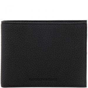 Emporio Armani Black Pebbled Leather Bifold Wallet