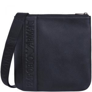 Emporio Armani Dark Blue Pebbled Leather Messenger Bag