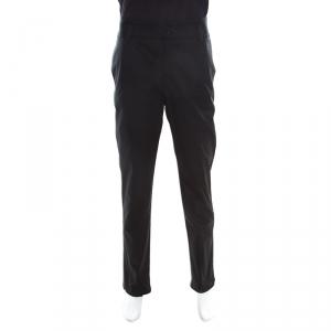 Emporio Armani Black Cotton High Waist Tailored Trousers 2XL