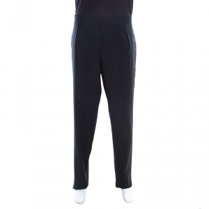 Emporio Armani Navy Blue Wool Side Buckle Detail Tailored Trousers XXXL