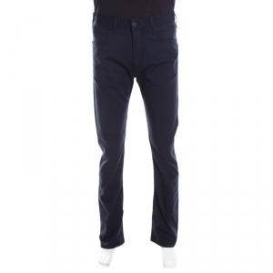 Emporia Armani Navy Blue Cotton Stretch Regular Fit Trousers M