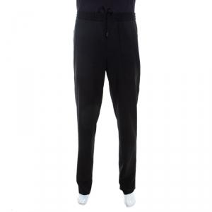 Emporio Armani Black Wool Elasticized Waist Straight Fit Trousers XL