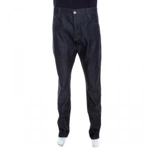 Emporio Armani Indigo Dark Wash Denim Studded Pocket Detail Tapered Jeans XXL