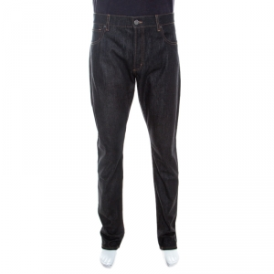 Emporio Armani Black Dark Wash Denim Studded Pocket Detail Tapered Jeans XL