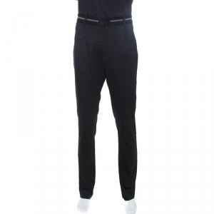 Emporio Armani Black Wool Zip Detail Trousers XXL