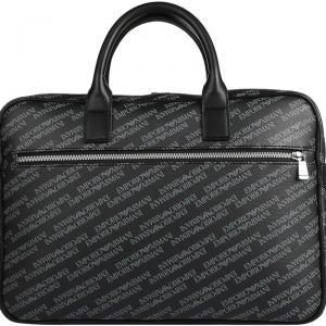Emporio Armani Black Monogram Leather Laptop Bag