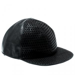 Emporio Armani Black Perforated Leather Baseball Cap M