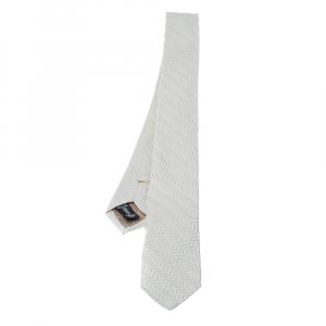 Emporio Armani Ivory Silk Zig Zag Embossed Skinny Tie
