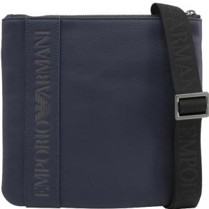 Emporio Armani Blue Faux Leather Messenger Bag